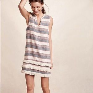 Anthro holding horses fringe hem shift dress